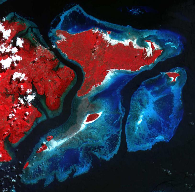 Récif près de Semporna (Malaisie) SPOT, 17 juin 2001 ©CNES/dist. SPOT Image.
