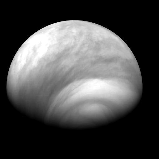 Image de l'atmosphère de l'hémisphère sud de Vénus réalisée par Venus Express le 4 août 2007. Crédits : ESA/ MPS/DLR/IDA.