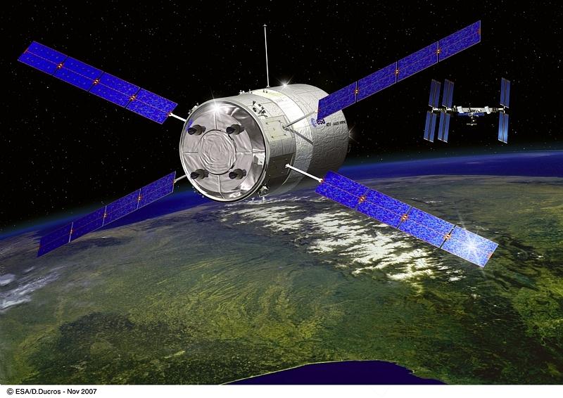 Comme le Jules Verne en 2008, l'ATV 2 apportera frêt et carburant jusqu'à l'ISS. Crédits : ESA/Ill. D. Ducros.