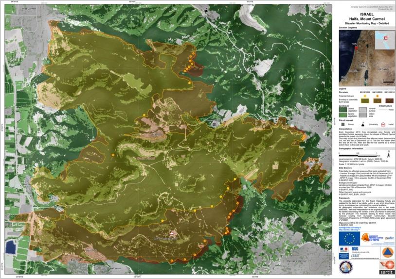 Carte de suivi de crise au 1/12 500, vue détaillée de la dynamique de l'incendie dérivée à partir d'une image Landsat 5 (3 décembre 2010), d'une image RapidEye acquise le 4 décembre 2010 et d'une image SPOT 5 prise à la fin de l'incendie (...