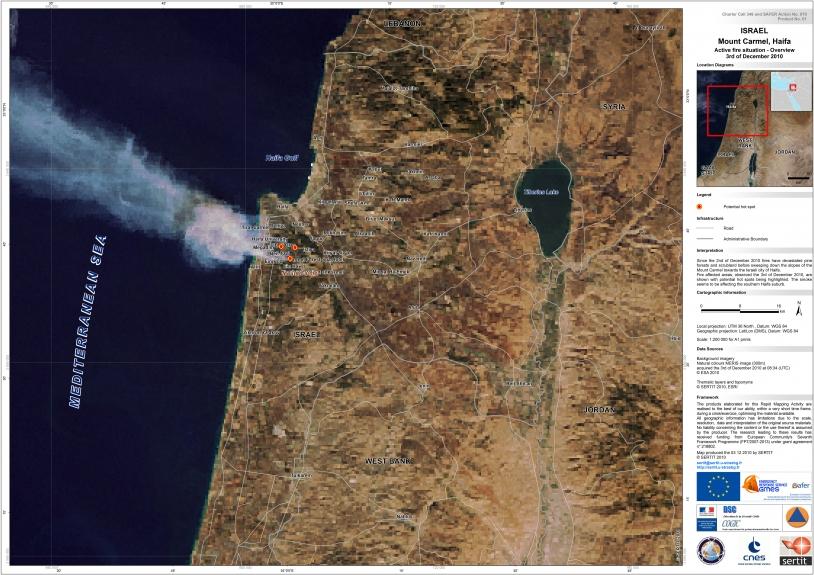 Carte de situation des feux actifs le 3 décembre 2010 sur le Mont Carmel, Haïfa (1/200 000e). Crédits : SERTIT 2010.