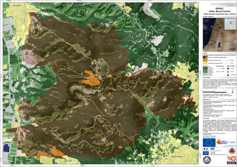 Detailed view of the fire's potential impact on built-up areas. Credits: SERTIT 2010.