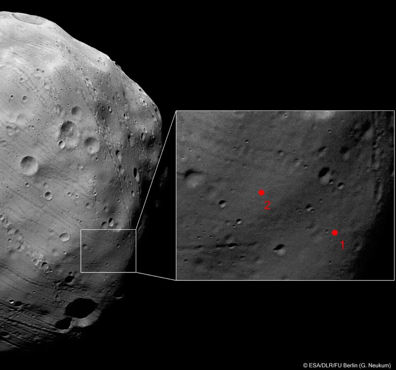 2 sites d'atterrissage envisagés grâce aux images du 7 mars réalisées par Mars Express. Crédits : ESA/DLR/FU Berlin (G. Neukum).