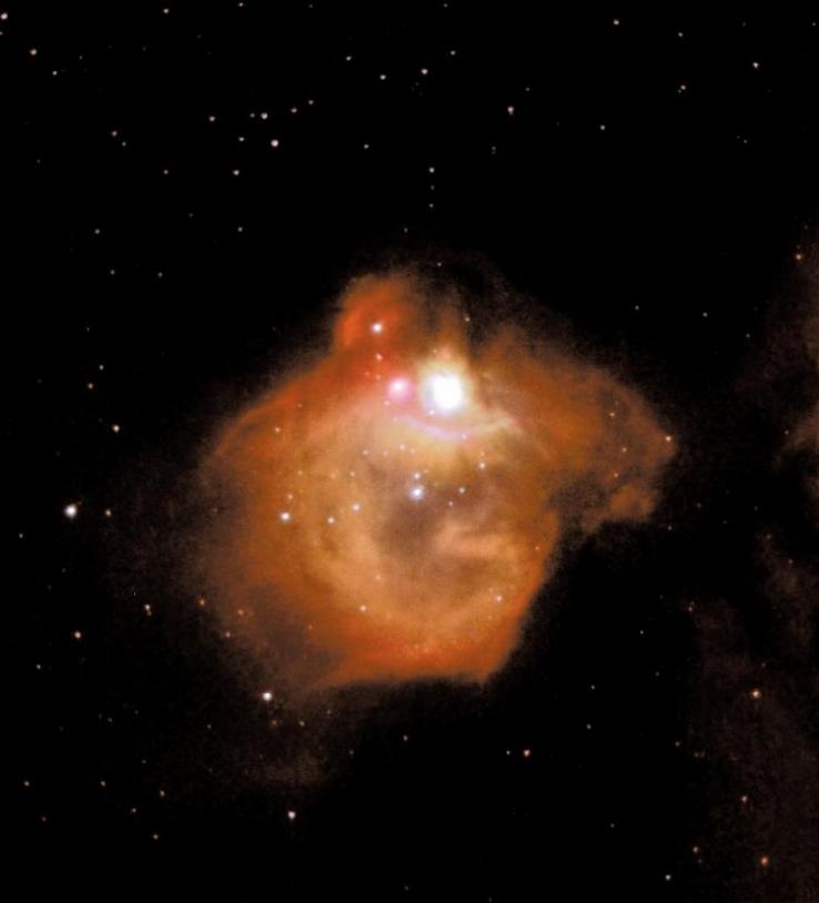 Exemple de région de formation d'étoiles massives, N83B située dans le Grand Nuage de Magellan d'où la matière organique constitutive du vivant pourrait être originaire. Crédits : HST. NASA-ESA.