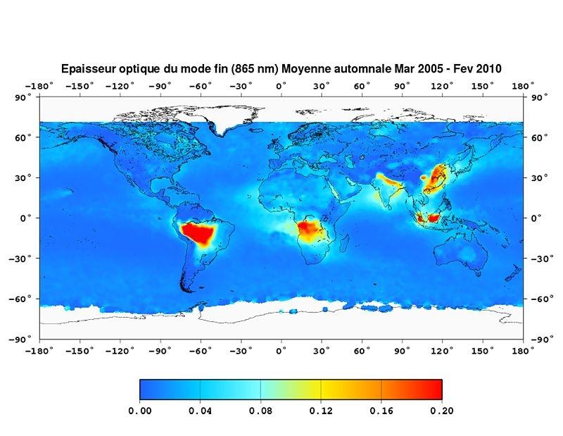 Epaisseur optique des aérosols déduite des données PARASOL. Crédits : LOA/ICARE/, 2010.