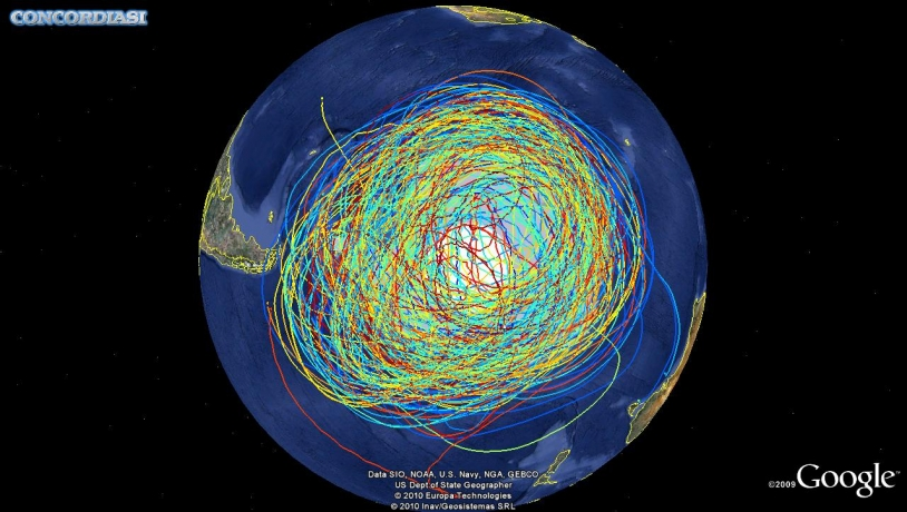 Trajectories of the 19 balloons launched during the Concordiasi campaign in the Antarctic. Credits: 2010 Google.