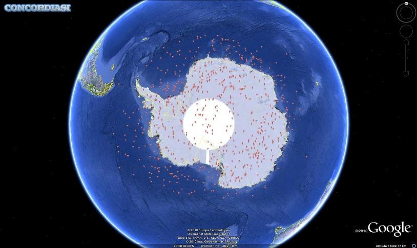 Positions of the dropsondes released over the Antarctic during the Concordiasi 2010 campaign. Credits: 2010 Google.
