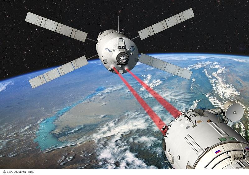 L'ATV doit s'amarrer au module russe Zvezda de l'ISS. Crédits : ESA/Ill D. Ducros.