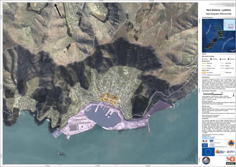 Carte de référence géographique établie à partir des données des satellites ALOS AVNIR-2 et SPOT-5. Crédits : JAXA, CNES - Map produced by SERTIT.