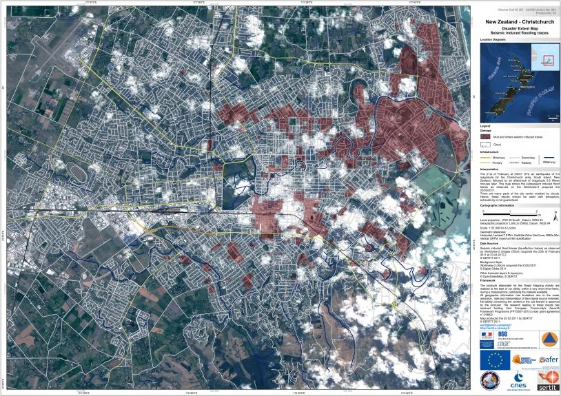 Sur cette carte, il est possible de distinguer les bâtiments. Crédits : Digital Globe - Map produced by SERTIT.