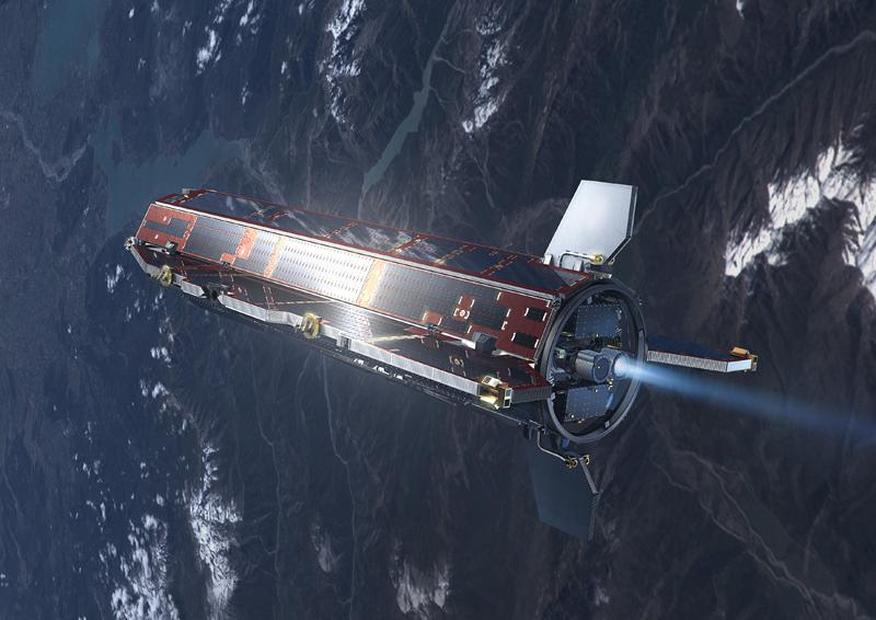 Satellite GOCE de l'ESA en vol. Crédits : Ill. ESA.