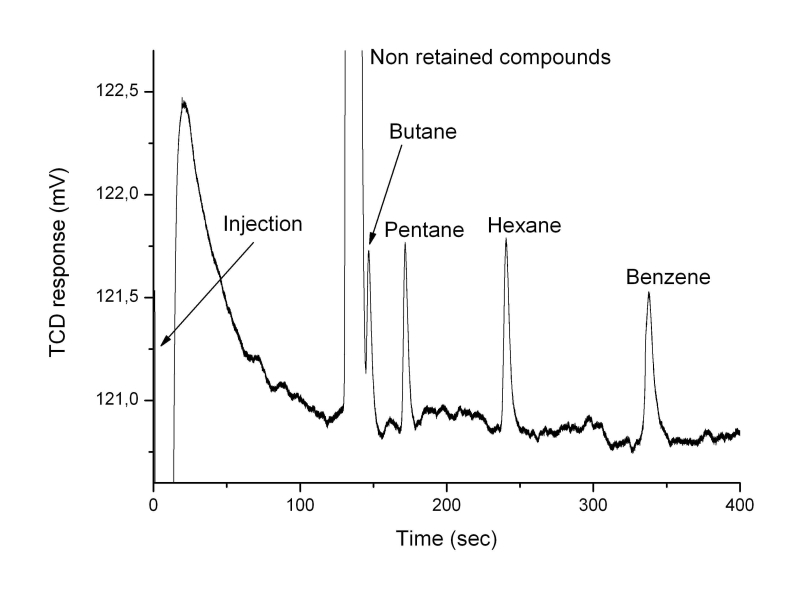 Chromatogram of the analysis of a mixture of organic and argon molecules. Credits: LISA/ Coll.