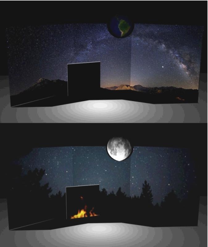 Aperçu du dispositif Pandora avec ici des paysages changeants et une Terre qui devient Lune. Crédits : UTRAM/CNES.