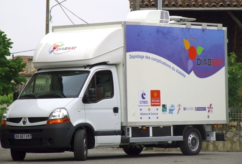 : The DIABSAT mobile screening vehicle in a Midi-Pyrénées village. Credits: CNES.
