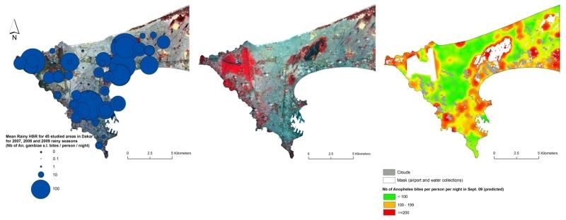 Cartes du paludisme urbain à Dakar, Sénégal. De g. à d. : piqûres de moustique Anopheles/pers/nuit, saison des pluies 2009 ; image SPOT-5 à 2.5m à la même période ; carte prédictive de risque entomologique au 20 sept 2009. Crédits : CNES/ S...