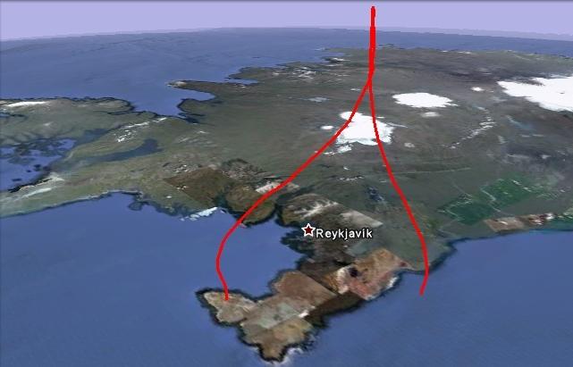 Trajectoire de vol 3D du 1er ballon-sonde lâché en Islande le 19 juillet. Crédits : Google Earth.