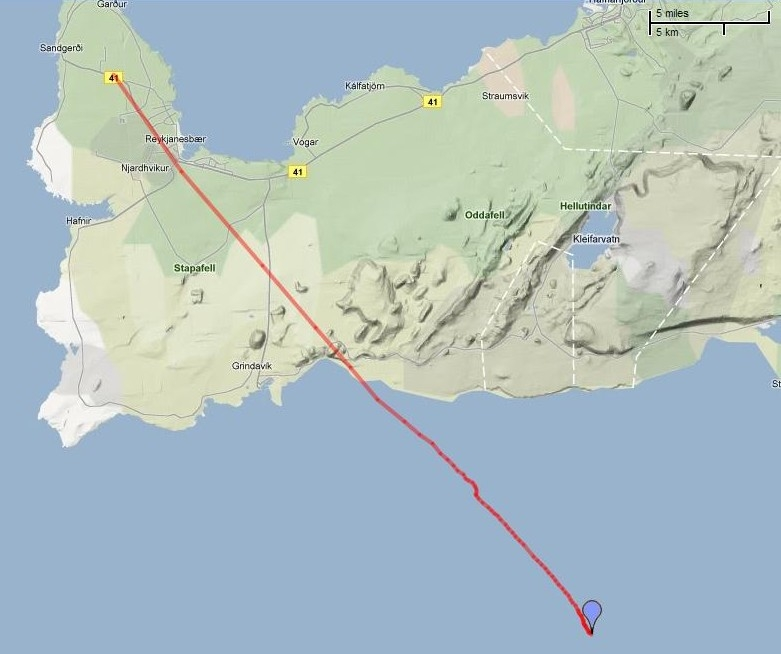 2D flight path of the second balloon, released on 20 July. Credits: Google Maps.