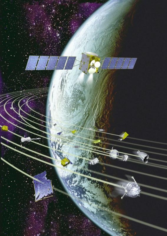 Vue d'artiste d'un satellite et d'un échantillon de débris spatiaux en orbite autour de la Terre. Crédits : CNES/ D. Ducros.