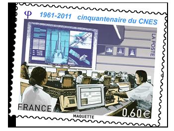 Timbre spécial « 50 ans du CNES. » Crédits : La Poste.
