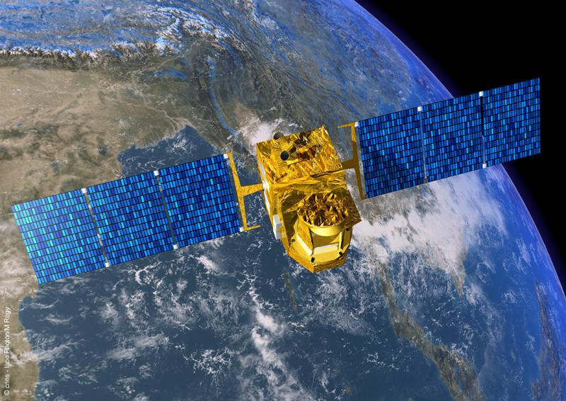 Le satellite Megha-Tropiques devrait ausculter la zone intertropicale pendant 3 à 5 ans. Crédits : CNES.