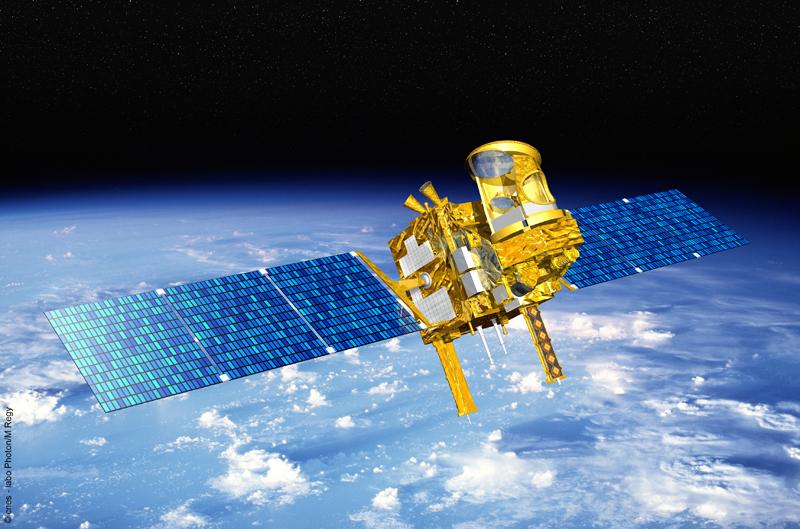 Le satellite Megha-Tropiques sera placé sur une orbite circulaire à 867 km d'altitude. Crédits : CNES.