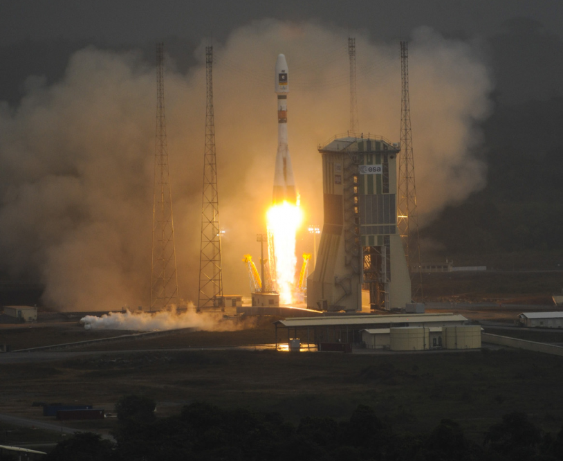 The Soyuz launcher lifted off for the first time from the Guiana Space Centre. Credits: ESA/CNES/Arianespace/S. Corvaja, 2011.