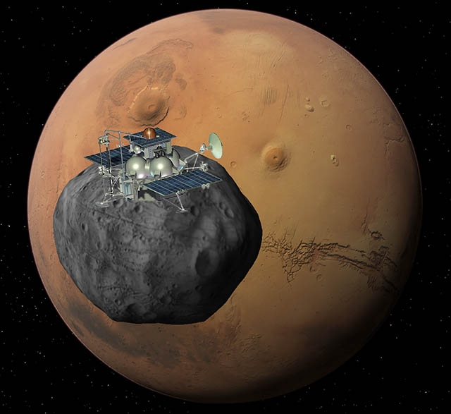 The Phobos-Grunt spacecraft is scheduled to reach Phobos in 2013. Credits: Ill. Roscosmos.