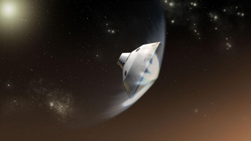 Rentrée dans l'atmosphère de Mars du module de croisière de MSL avec le rover Curiosity à l'intérieur. Crédits : Ill. NASA/JPL-Caltech.