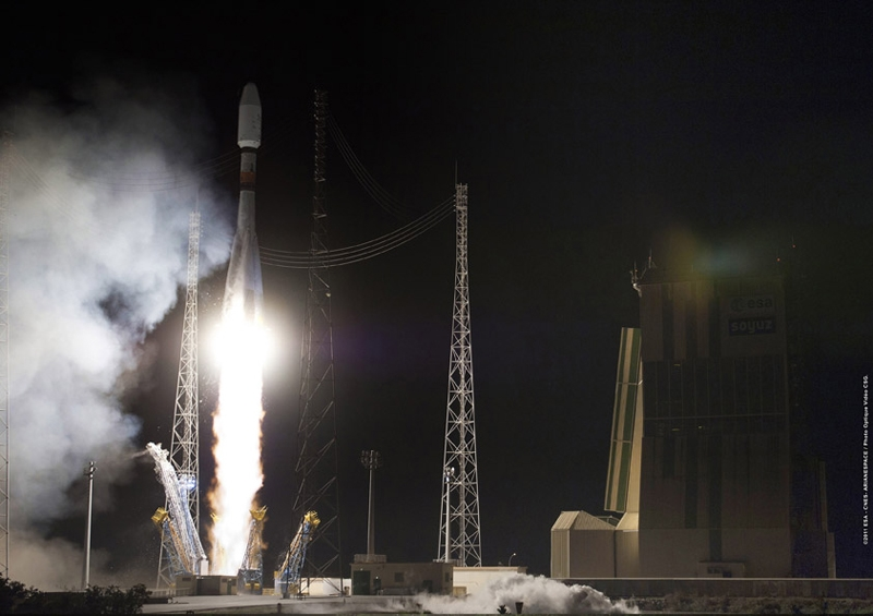 The Soyuz launcher lifts off from the Guiana Space Centre, Saturday 17 December at 0:03 UTC. Credits: ESA/CNES/Arianespace/Optique vidéo du CSG.