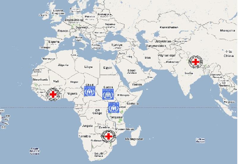 Carte des sites pilotes : Tchad, Soudan, Ouganda (HCR) et Côte d'Ivoire, Zimbabwe, Népal  (CICR). Crédits : CNES.