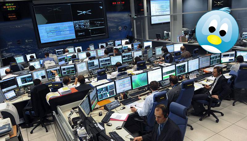 Tweetup exceptionnel organisé dans la nuit du 18 au 19 mars au centre spatial de Toulouse pour l'amarrage du 3e ATV de l'histoire. Crédits : CNES.