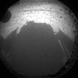 One of the first Curiosity images, shadow on the martian floor, a few minutes after touchdown. Credits: NASA/JPL-Clatech.