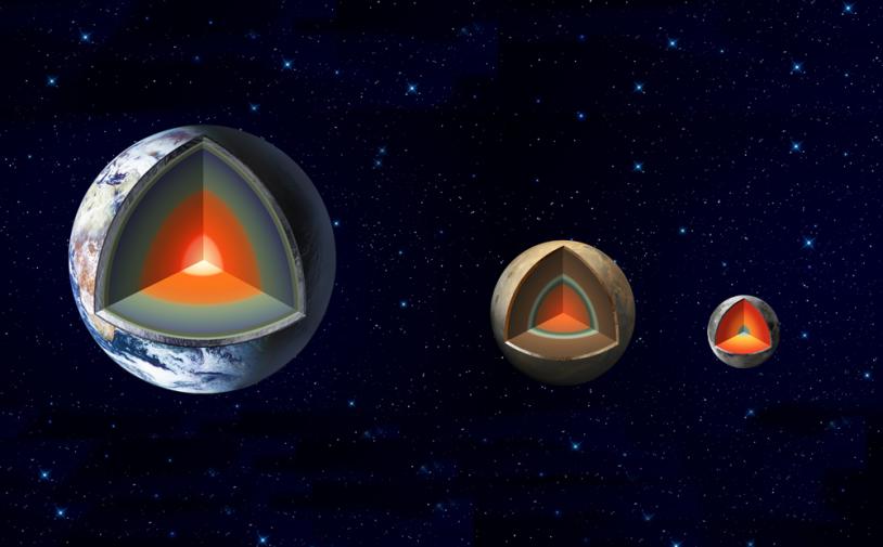 Comparaison en vue d'artiste des coeurs de la Terre, Mars et la Lune. Crédits : JPL/NASA.