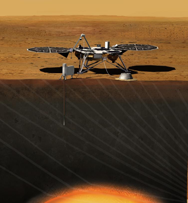 Vue d'artiste du rover de la mission InSight sur Mars. Crédits : JPL/NASA.