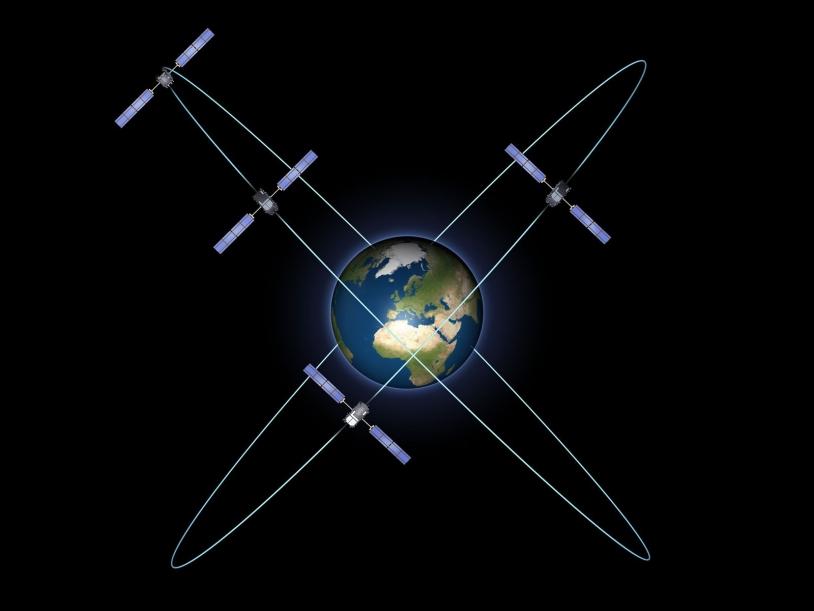 Les 4 premiers satellites du système Galileo en orbite. Crédits : ESA - P. Carril.
