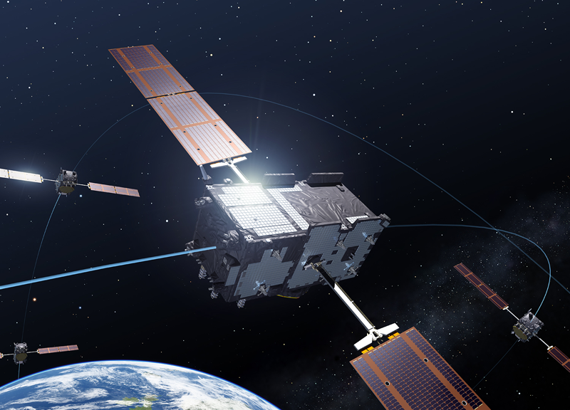 Les 4 premiers satellites Galileo en orbite. Crédits : ESA – P. Carril.