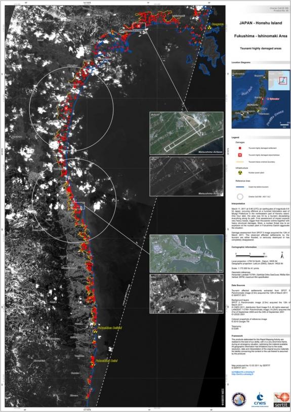 Impact du tsunami du 11 mars 2011 sur le Japon vu par le satellite SPOT 5. Crédits : CNES, USGS, Google, ESRI - carte produite par le SERTIT.