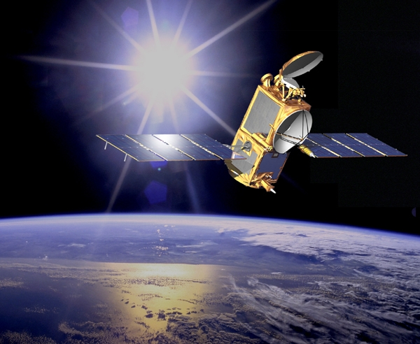 Vue d'artiste du satellite Jason-2, en orbite depuis 2008. Crédits : CNES/NASA.
