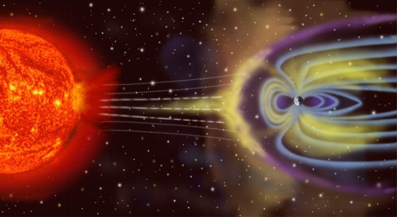 Le champ magnétique terrestre est un véritable rempart contre les aggressions du Soleil. Crédits : NASA.