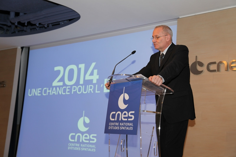 CNES President Jean-Yves Le Gall delivered his New Year wishes to the press at the agency's head office in Paris on Monday 6 January. Credits: CNES/S. Charrier.