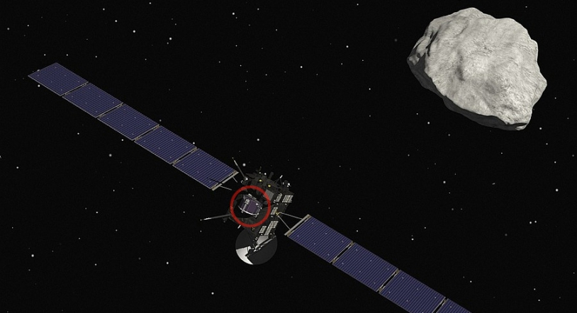 Rosetta and the Philae lander (circled in red) will reach the comet in the early summer. Credits: CNES / ill. D. Ducros.