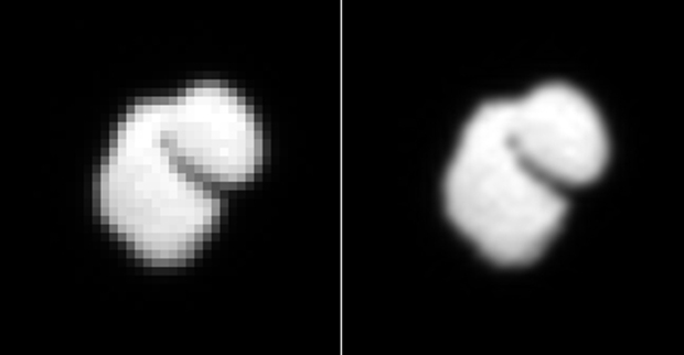 Left: picture of comet 67P/Churyumov–Gerasimenko taken on 14 July by the OSIRIS camera at a distance of about 12,000 km. Right: the same picture interpolated (smoothed). Credits: ESA/Rosetta/MPS for OSIRIS Team MPS/UPD/LAM/IAA/SSO/INTA/UPM/DASP/IDA.