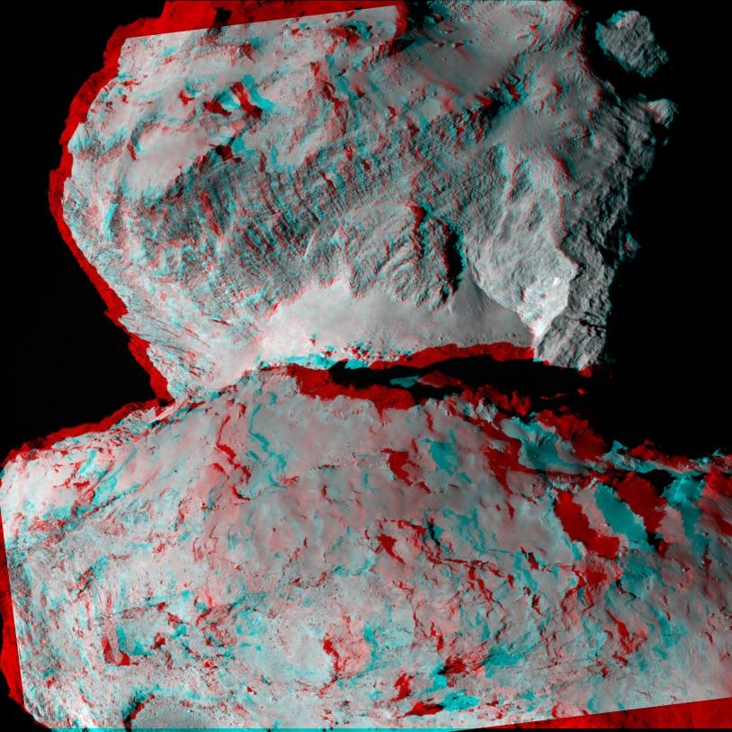 Utilisez des lunettes avec filtres rouge et vert/bleu pour admirer cette vue en 3D du noyau à 104 km de distance.