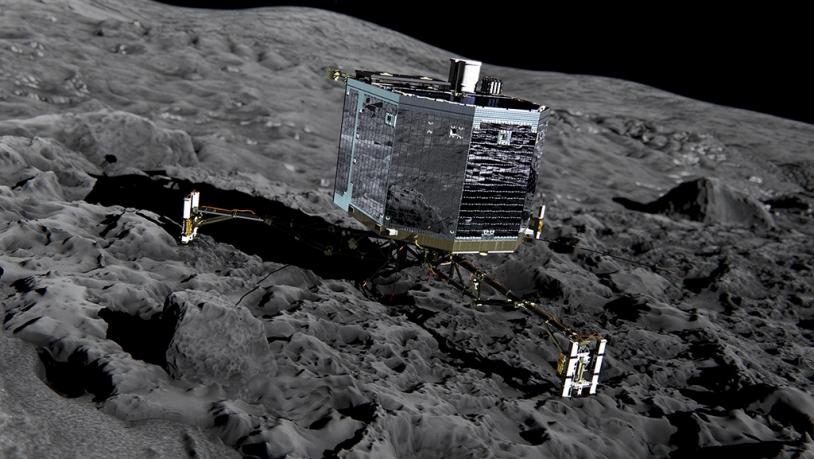 Philae disposera d'une soixantaine d'heures d'autonomie pour réaliser sa mission à la surface du noyau, puis elle devra utiliser une batterie secondaire rechargée par ses petits panneaux solaires. Crédits : ESA/ATG medialab.