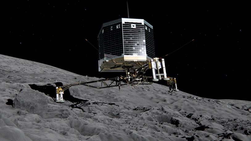 Philae doit s'ancrer à la surface du noyau dès son atterrissage pour ne pas rebondir. Crédits : ESA/ATG medialab.