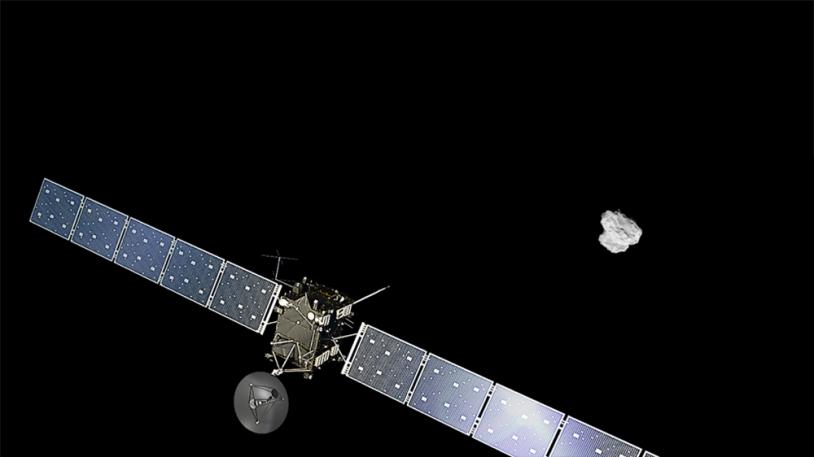 Montage de Rosetta devant une image du noyau prise le 2 août 2014.  Crédits : ESA/ATG medialab et ESA/Rosetta/NAVCAM.