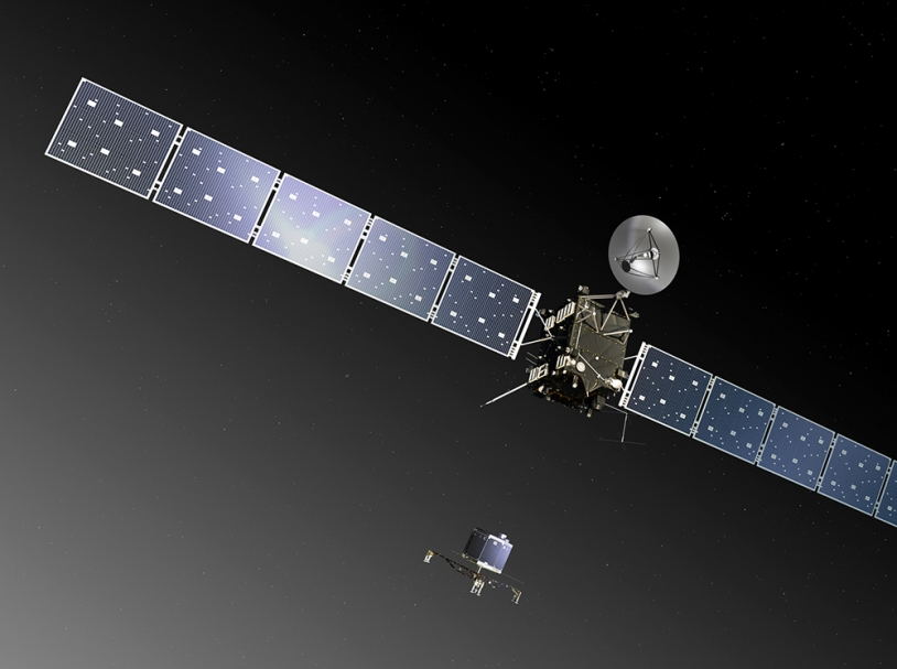 Rosetta doit larguer le module Philae sur le noyau de 67P le 11 novembre 2014. Crédits : ESA/ATG medialab.