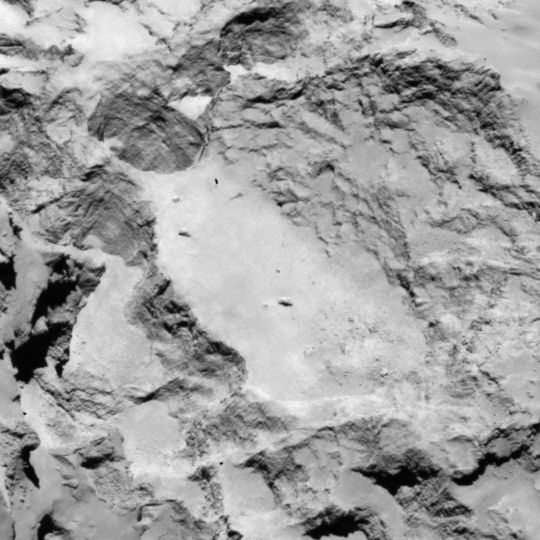 Site A is located on the larger lobe of 67P's nucleus. Credits: ESA/Rosetta/MPS for OSIRIS Team MPS/UPD/LAM/IAA/SSO/INTA/UPM/DASP/IDA.