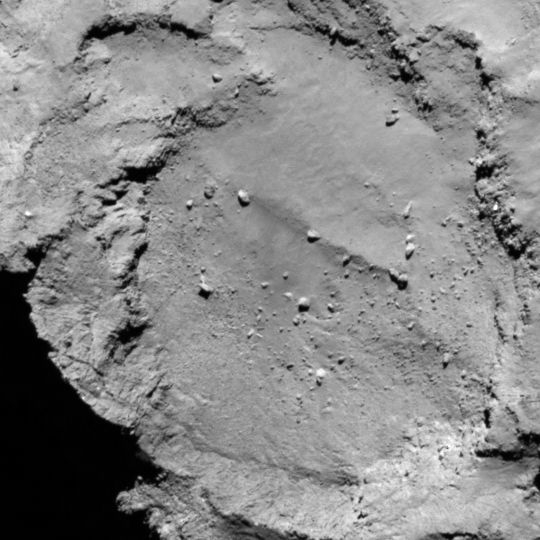 Site B is located on the smaller lobe of 67P's nucleus. Credits: ESA/Rosetta/MPS for OSIRIS Team MPS/UPD/LAM/IAA/SSO/INTA/UPM/DASP/IDA.