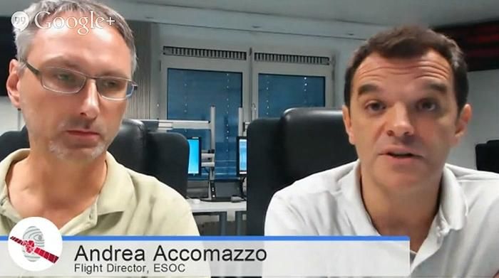 Andrea Accomazzo, Directeur de vol de la mission Rosetta à l'ESOC, intervenait le 2 septembre dans un Hangout de l'ESA. Crédits : Google+.